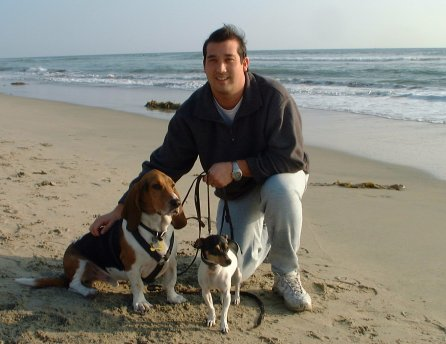 Jeff at Dog Beach w/Norman & Ezri